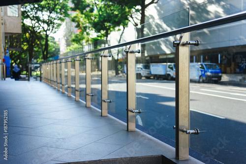 Fotografie, Tablou Glass railings in the city.