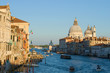 September evening on the Grand Canal. View of the Cathedral of Santa Maria della Salute. Venice