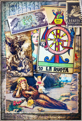 Foto op Aluminium Imagination Collage bizzarri,esoterici e misteriosi con scrapbook e disegni