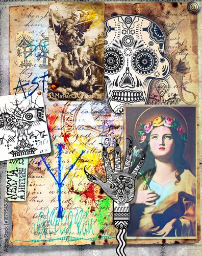 Poster Imagination Collage con manoscritti e disegni bizzarri,esoterici,alchemici e misteriosi