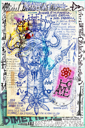 Poster Imagination Manuscript background with esoteric and atrologycal draws and sketches