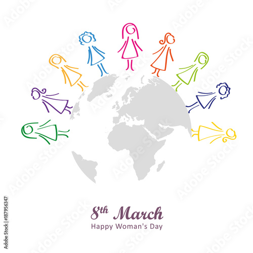 Fotografie, Obraz  8 march happy woman's day frauen um die welt bunt