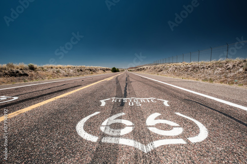 Street sign on historic route 66 in California Wallpaper Mural