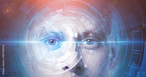 Pinturas sobre lienzo  man face recognition technology