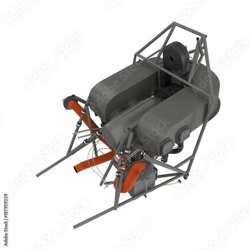 Deurstickers Nasa Light Helicopter Engine on white. 3D illustration