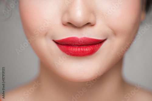 Stampa su Tela Close-up of beautiful perfect red lips. Selective focus.