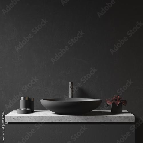 Fotografía  Black wall and bathroom sink