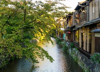 Fototapeta na wymiar Sunny autumn evening in Gion, Kyoto