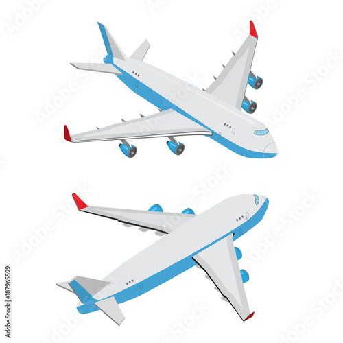 Isometric 3D flat plane  Isometry aircraft vector  Air transport