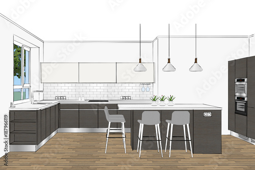 3d Rendering Modern Kitchen Furniture Design In Light Interior Grey Facades Home Interior Design Software Programs Pendant Lights Elegant Bar Chairs Home Interior Design Software Programs Buy This Stock Illustration And