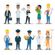Flat professional people character vector profession set