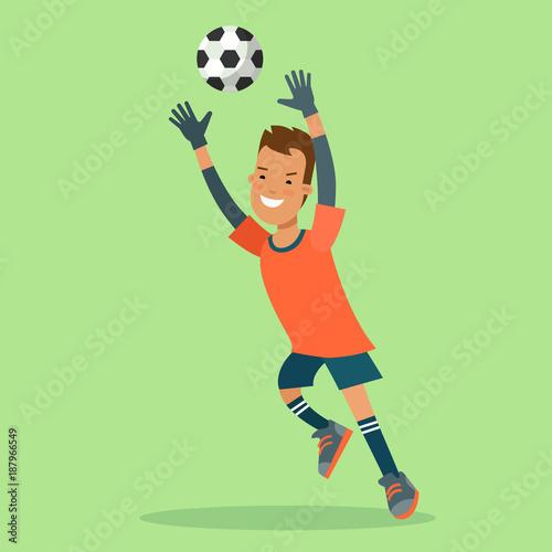 Foto Flat football soccer goalkeeper goal ball jump vector character