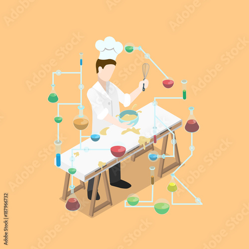 Flat Isometric Chief Cooker Cooking Science Lab Chemical