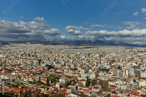 Staande foto Athene View of Athens city from Akropolis.
