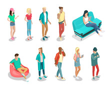 Flat Isometric 3d Casual People Characters Vector Icon Set