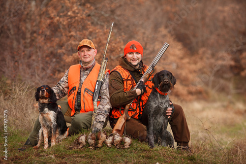 hunters with dogs hunting a bird woodcock Poster Mural XXL