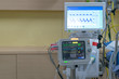 Patients crisis Lying EKG machine Blood pressure heart emergency patients in Hospital
