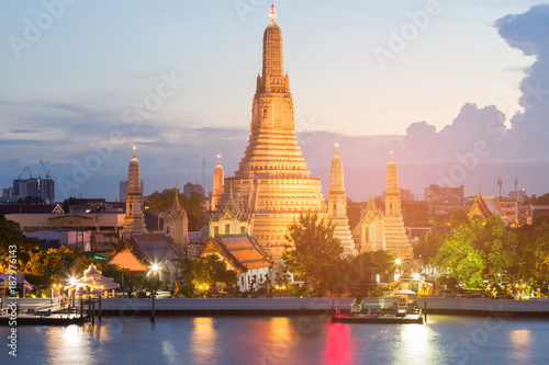 Bangkok city landmark, Arun temple river front at twilight
