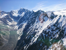 Tasman Mountain With Glacier Helicopter View New Zealand Natural Landscape Background