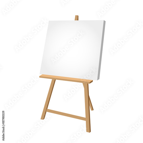 Photo  Simple easel on white background - artist workplace