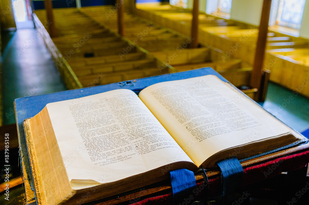 Fototapety, obrazy: A bible sits open on the altar of a Presbyterian church in Northern Ireland