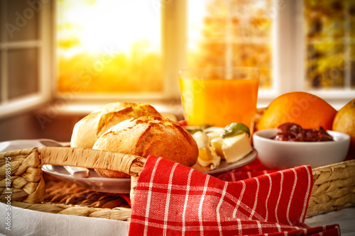 breakfast and window of morning sun light