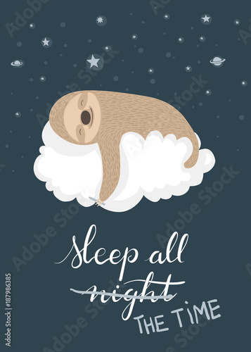 Sleeping sloth poster Canvas-taulu
