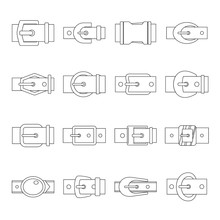Belt Buckles Icons Set, Outline Style