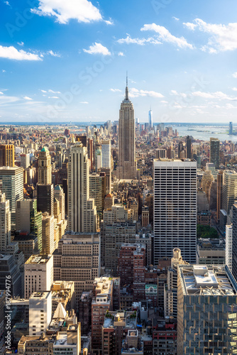 Poster New York City Manhattan Skyline in New York City mit Empire State Building, USA