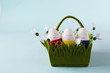 funny, colorful, lovely and kind Easter eggs - painted with hands, lie in a basket. Background for Easter greetings, concept