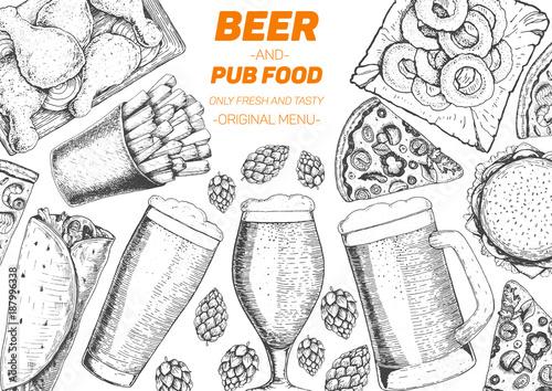 Fotografie, Obraz  Pub food frame vector illustration