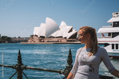 Canvas Prints Sydney Young girl chilling in Sydney near Opera house and Darling harbour by the bay.