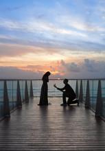 Proposal On Beach At Sunset