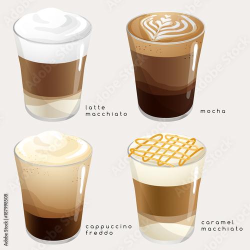 Fotografie, Obraz  Set of Coffee Types : Vector Illustration