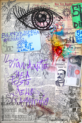 Poster Imagination Murales. Arte urbana con graffiti,simboli e segni surreali e bizzarri
