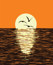 Vector Background Of Sea And Evening Sunset