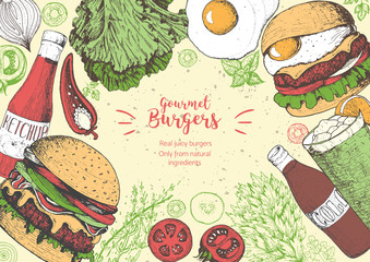 Fototapeta Do baru Burgers and ingredients for burgers vector illustration. Fast food, junk food frame. American food. Elements for burgers restaurant menu design. Colored image, retro style.