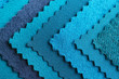 canvas print picture - Blue fabric samples, closeup