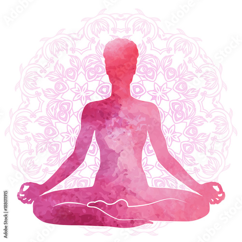 Practicing yoga, relaxation and meditation. Watercolor Silhouette Wallpaper Mural