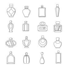 Perfume Bottles Icons Set, Outline Style