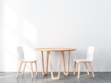 Two Wooden Chairs With Table I...