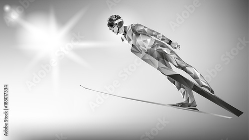 Fotografía  The polygonal colorful figure of a young man Ski Jumping with on a white and blue background