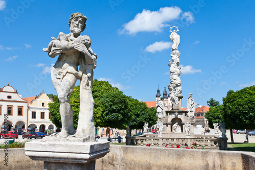 Poster Artistic monument Upper Silen well from 1827, Telc (UNESCO), Vysocina district, Czech republic, Europe