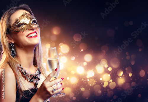 Sensual Woman With Golden Mask And Champagne - Masquerade Party