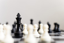 Plan Leading Strategy Of Successful Business Competition Leader Concept, Chess Board Game With Copy Space For Your Text
