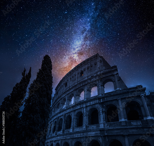 Foto op Aluminium Rome Beautiful Colosseum in Rome at night and milky way, Italy