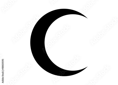 Canvas Print Crescent moon black icon