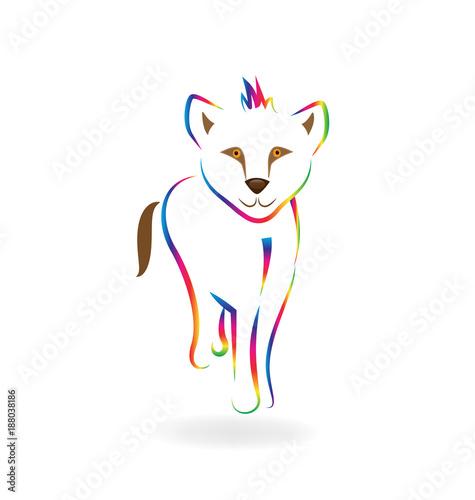 Fotografie, Obraz  Rainbow baby lion line art vector symbol