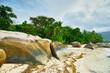 Beau Vallon Bay with rocks - Beach on island Mahe in Seychelles