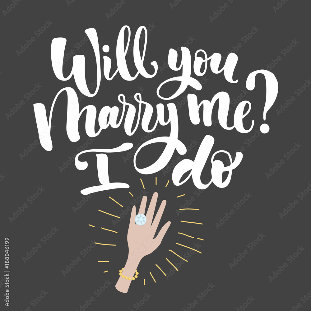 Photo Art Print Will You Marry Me Lettering Europosters